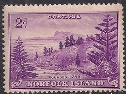 Norfolk Island 1947 KGV1 2d Reddish Violet MM SG 4 ( J663 ) - Isla Norfolk