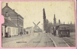 SANTHOVEN - Statieplein - Stoomtram En Molen - 1908 - Stuk Uit Kaart - Zandhoven