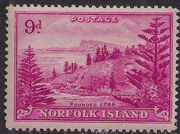 Norfolk Island 1947 KGV1 9d Magenta MM SG 10 ( J1084 ) - Isla Norfolk