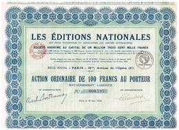 Titre Ancien - Les Editions Nationales - Société Anonyme - Titre De 1926 - - Industrie