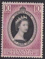 Selangor Malaya 1953 QE2 10ct Mauve & Black Coronation MM SG 115 ( L45 ) - Selangor