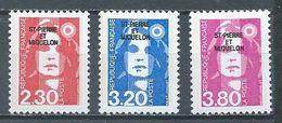 Saint-Pierre Et Miquelon YT N°518-519-520 Marianne Du Bicentenaire Neuf ** - Nuevos