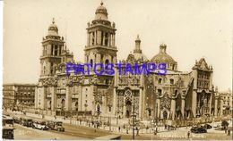 135037 MEXICO D.F VIEW CATHEDRAL & TRAMWAY TRANVIA POSTAL POSTCARD - Messico