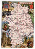 Cher -- Illustrateur R . Pinchon--carte Géographique Illustrée Du Département Du Cher.........à Saisir - Francia