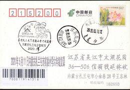CHINA CHINE CINA POSTCARD HELONGJIANG  ZALANTUN TO JIANGSU WUJIANG  WITH  ANTI COVID-19 INFORMATION - Cina