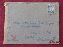 Lettre Du Portugal Avec Bande De Censure Pour La Belgique - 1910-... Republic