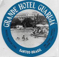 135067 BRAZIL BRASIL SANTOS PUBLICITY GRANDE HOTEL GUARUJA LUGGAGE NO POSTAL POSTCARD - Hotel Labels
