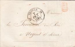 PSC De Troyes (10) Pour Nogent-sur-Seine (10) - 6 Octobre 1842 - CAD Rond Type 12 & 13 - Cachet P.P. Rouge - 1801-1848: Precursori XIX