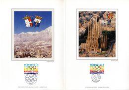 """"""" J.O. D'ALBERTVILLE / BARCELONE 1992 """" Sur Encart 1er Jour 4 Pages Sur Soie N° YT Parfait état. FDC - Other"""