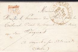 LAC De Bérulle (10) Pour Nogent-sur-Seine (10) - 21/07/1839 - CAD 15 & 13 Villeneuve-l'Archevêque (89) - Cachet PP Rouge - Postmark Collection (Covers)