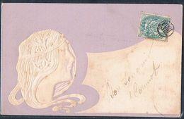 B193 ART NOUVEAU MUCHA KIRCHNER Style FEMME Bijoux MEDAILLON Gaufrée Embossed - Other Illustrators