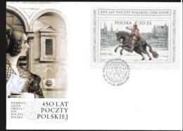Poland 2008 FDC 450 Years Polish Post - Horse High Value 20 Zl. Souvenir Sheet (LAR9-108) - Posta