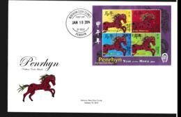 Penrhyn FDC 2014 Year Of The Horse Souvenir Sheet (LAR9-108) - Año Nuevo Chino