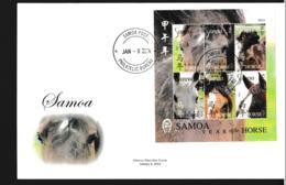 Samoa FDC 2014 Year Of The Horse Souvenir Sheet (LAR9-108) - Año Nuevo Chino