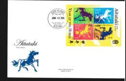 Aitutaki FDC 2014 Year Of The Horse Souvenir Sheet (LAR9-108) - Año Nuevo Chino