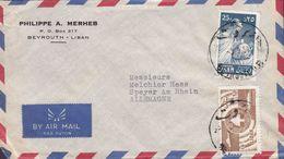 Lebanon Liban PHILIPPE A. MERHAB, BEYROUTH 1958 Cover Lettre SPEYER A Rhein Vase Kunsthandwerker Zeder Kommunikation - Líbano