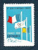 Vignette Des Xes Jeux Olympiques D'hiver De Grenoble 1968   Olympics Games   Grenoble - Commemorative Labels