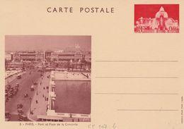 ENTIER VUES De PARIS - YVERT 1 - PLACE DE LA CONCORDE - TTB - Postal Stamped Stationery