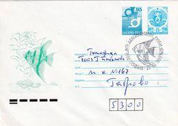 Bulgaria 1993 Postal Stationery Cover: Lion Löwe: Post Horn; Fauna Fish Fisch Poisson: Aquarienfische Aquarium Fish - Enteros Postales