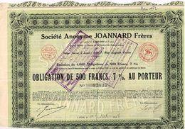 Titre Ancien -  Société Anonyme Joannard Frères - Obligation De 1928 - - Textile