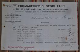55 MAISON DU VAL  Fromagerie DESOUTTER Freres Courtisols La Chapelle Felcourt TARIF POILU D'ARGONNE - Landwirtschaft