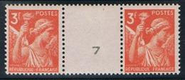 3f Iris Yvert 655 Paire Avec Numéro De Presse, ** - 1939-44 Iris