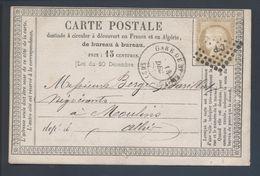 55 Cérès 15c Bistre Losange CP Clermont à Paris Gare De St Eloy 62 Type 17 1875 Carte Postale Compagnie Des Houillères - 1849-1876: Periodo Clásico