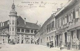 OLD POSTCARD SLOVENIA  - MARBURG A. D.  DRAU - BURGPLATZ   - MARIBOR - VIAGGIATA PRIMI '900 - B20 - Slovénie