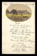 42 - USSON-EN-FOREZ - AUBERGE DU PIN MALLET - MENU DU 20 AOUT 1908 - CARTE PHOTO ORIGINALE - Autres Communes