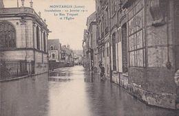 Montargis : Inondations - 10 Janvier 1910 - La Rue Triquetti Et L'Eglise - Montargis