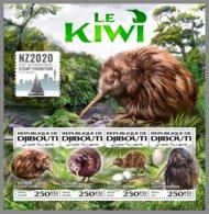 DJIBOUTI 2020 MNH The Kiwi Birds Vögel Oiseaux M/S - IMPERFORATED - DHQ2020 - Kiwi