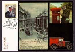 Norway - Philatelic Exhibitions, London 1998, Postman, Ancient Views Of The Town Vintage Cars, King Harald V - Expo Card - 1851 – London (United Kingdom)