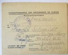 Frankreich Kriegsgefangenenpost Kommando Genie Mutzig Strassburg 1947 (34987) - Militares