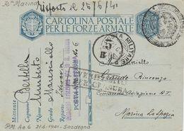 1941. POSTA MILIARE  Ae 6 + Lineare COMANDO AVIAZIONE Per La R. MARINA DELLA SARDEGNA + CENSURA MARINA. RARITA' - 1939-45