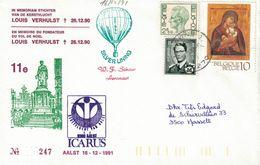 Courrier Par Ballon (montgolfière). 1991. Aalst => Laarne. Pilote: Fr. Schaut. Vol De Noël. Icarus. - Aéreo