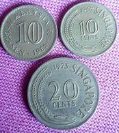 SINGAPORE & MALEISIË: 10 CENTS 1967 + 20 CENTS 1973 En MAL. 10 SEN 1981 - Singapore