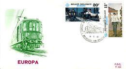 14183015 BE 19830514 Bx;  Europa, Paul Delvaux, Homme De La Rue, Trains Du Soir; Fdc Cob2092-93 - 1981-90