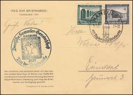 AK Mauritius Tag Der Briefmarke 1937, Passender SSt HAMBURG Glockenturm 10.1.37 - Tag Der Briefmarke