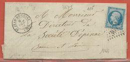 FRANCE LETTRE DE 1865 DE SAINT JEAN DE LOSNE POUR EPINAC - 1863-1870 Napoléon III Con Laureles