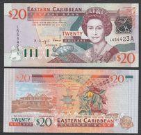CARAIBI ORIENTALE (EASTERN CARIBBEAN) : 20 Dollars - P44a - ANTIGUA - Queen Elisabeth II - 2003 - UNC - Ostkaribik