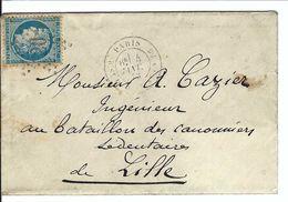 FRANCE 1873: CP De Paris Pour Lille Avec Le Y&T60A, TB Obl. Etoile ''20'' (R. St Dominique)  B à TB - 1871-1875 Ceres