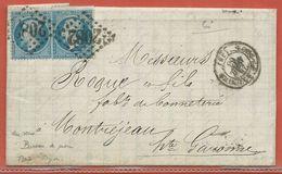 FRANCE LETTRE DE 1863 DE LONS LE SAUNIER POUR MONTREJEAN - 1863-1870 Napoléon III Con Laureles