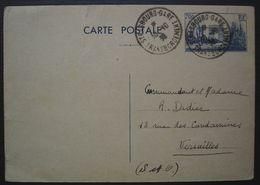 Strasbourg Gare Transbordement 1939 Cachet Sur Entier Postal à 70c, Pour Le Commandant Didier à Versailles - Marcophilie (Lettres)