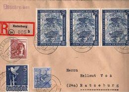 ! 22.6.1948 Bizone Einschreiben Ratzeburg 10-fach Frankatur - Zone Anglo-Américaine