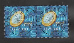 FRANCE / 2001 / Y&T N° 3402 : Demain, L'Euro ! - Choisi - Cachet Rond (x 2 En Paire) - Francia