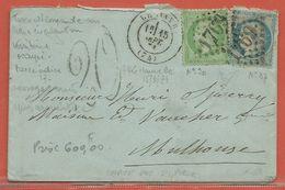 FRANCE LETTRE TAXEE DE 1871 DU HAVRE POUR MULHOUSE ALLEMAGNE - 1862 Napoléon III