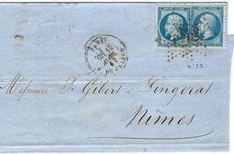 FRANCE 1867: CP De Paris Pour Nîmes Avec 2x Le Y&T22, TB Obl. Etoile ''22'' (R. Du Belder)  B à TB - 1862 Napoléon III