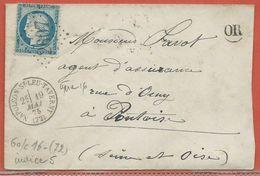 FRANCE LETTRE DE 1875 DE NAPOLEON SAINT LEU TAVERNY POUR PONTOISE - 1871-1875 Ceres