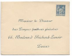 PARIS 15c Sage N° 90 Neuf Sur Env. Pour Retour Pompes Funèbres Boul. Richard Lenoir    ...G - Nuevos
