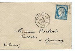 FRANCE 1875: CP De Paris Pour Epernay Avec Le Y&T60C, TB Obl. Etoile ''22'' (R. Taitbout)  B à TB - 1871-1875 Ceres